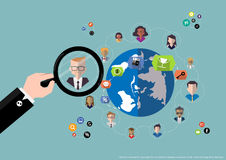 Vector research people for business teams worker with world map Flat design Royalty Free Stock Photo