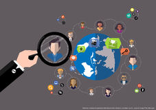 Vector research people for business teams worker with world map Flat design Royalty Free Stock Photography