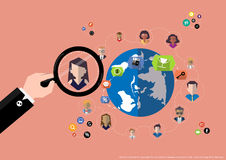 Vector research people for business teams worker with world map Flat design Royalty Free Stock Image