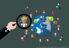 Vector research people for business teams worker with world map Flat design Stock Images
