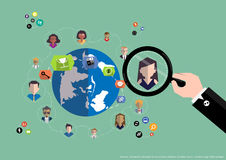 Vector research people for business teams worker with world map Flat design Stock Photo