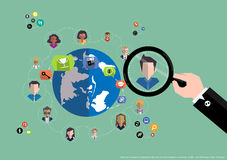 Vector research people for business teams worker with world map Flat design Stock Photos