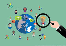 Vector research people for business teams worker with world map Flat design Stock Image
