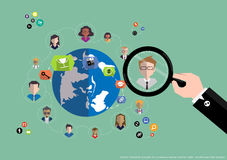 Vector research people for business teams worker with world map Flat design Royalty Free Stock Photos