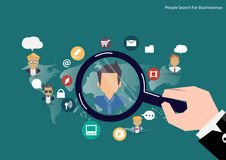Vector research people concept of human resources management, professional staff research, head hunter job with magnifying glass. Stock Images