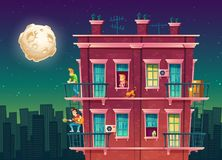 Vector residential multi-storey apartment at night, neighborhood. House outside with people concept, private building at midnight, full moon over the dormitory Stock Photos