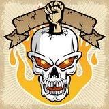Vector of fist with skull, flame, banner on splatter frame Royalty Free Stock Photos