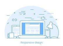 Vector responsivo del diseño web del software plano de Lineart libre illustration