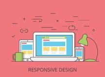 Vector responsivo del diseño web del software plano linear stock de ilustración