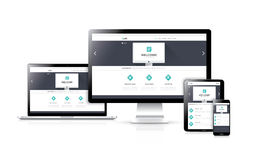Vector responsivo plano del desarrollo del diseño web concentrado Fotos de archivo