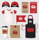 Vector restaurant cafe bar set. Package, t-shirt, cap, uniform design, layout set of corporate identity template Stock Photography
