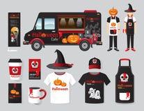 Vector restaurant cafe design set street halloween food truck Stock Photo