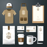 Vector restaurant cafe set flyer, menu, package, t-shirt, cap, uniform design Stock Images