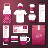 Vector restaurant cafe set flyer, menu, package, t-shirt, cap, uniform design Royalty Free Stock Photography