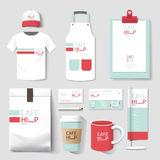 Vector restaurant cafe set flyer, menu, package, t-shirt, cap, uniform design Royalty Free Stock Photography