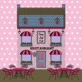 Vector Restaurant facade. Background. Retro style illustration Stock Photos