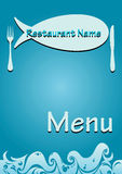 Vector restaurant fish menu. Template menu seafood restaurant. proportional to A4 size.  illustration Stock Photos