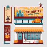 Vector restaurant halloween cafe set shop front design, flyer, Royalty Free Stock Images