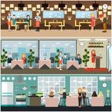 Dinner at restaurant vector flat illustration. Vector restaurant interior set with receptionist, visitors having dinner, waiter and waitress taking order and Stock Photos
