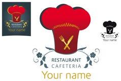 Vector Restaurant logo design. Red gold black Stock Photo