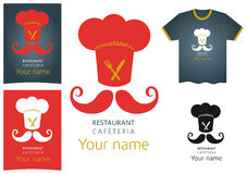 Vector Restaurant logo design. Red gold Stock Photography