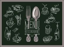 Restaurant menu with sketches of different dishes stock illustration