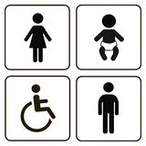 Vector restroom icons: lady, man, child and Stock Photos