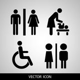Vector restroom icons: lady, man, child and disability Royalty Free Stock Photography