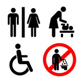Vector restroom icons: lady, man, child and disability Stock Photography