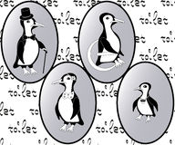 Vector restroom icons: penguins as lady, man, child and disability Stock Photos
