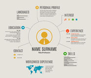 Vector resume web template cv with icons. Royalty Free Stock Images