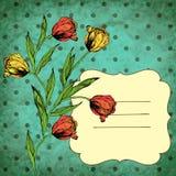 Vector retro achtergrond met roze tulpen Royalty-vrije Stock Foto