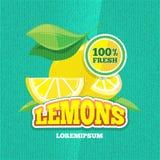 Vector retro affiche met sappige verse citroen, limonade uitstekende achtergrond Stock Afbeelding