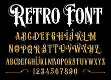 Vector retro alphabet. Vintage font. Typography for labels, headlines, posters etc Stock Photos