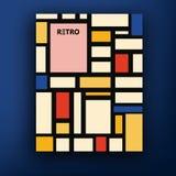 Vector retro bauhaus DE stijl van het de dekkingsontwerp van het brochureboekje de malplaatjesinzameling A4 Royalty-vrije Stock Afbeeldingen
