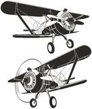 Vector retro biplane royalty free illustration