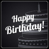 Vector retro birthday card, with birthday text and cake on metal background. Royalty Free Stock Image