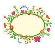 Vector retro bloemenachtergrond, kader Stock Foto's