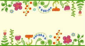 Vector retro bloemenachtergrond, kader Royalty-vrije Stock Foto