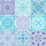 Vector retro blue symmetrical tiles seamless pattern background. vector illustration