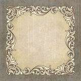 Vector retro border frame at grunge background. Vector vintage border frame engraving at grunge background with retro ornament pattern in antique baroque style