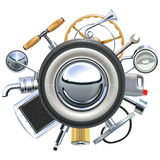 Vector Retro Car Parts Concept Royalty Free Stock Images