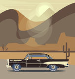 Vector retro car. Tourism trendy flat design. Travel by car. Cool retro travel car Royalty Free Stock Images