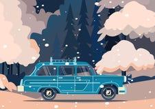 Vector retro car. Tourism trendy flat design. Vectorretro car. Tourism trendy flat design.Travel by car. Cool retro travel car Stock Image