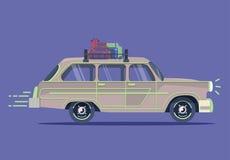 Vector retro car. Tourism trendy flat design. Vectorretro car. Tourism trendy flat design.Travel by car. Cool retro travel car Royalty Free Stock Photos