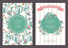 Vector retro card template with seamless floral pattern backgrou Stock Photography