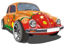 Vector retro cartoon car royalty free illustration