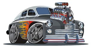 Vector retro cartoon hotrod Royalty Free Stock Image