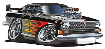 Vector retro cartoon hotrod Royalty Free Stock Photography