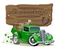 Vector Saint Patrick`s retro cartoon beer pick-up Stock Photography